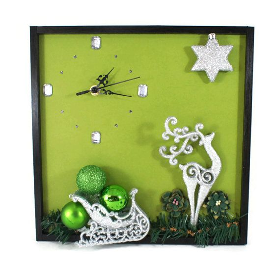 Wall Clock with Silver Reindeer and Sleigh by NchantedGifts