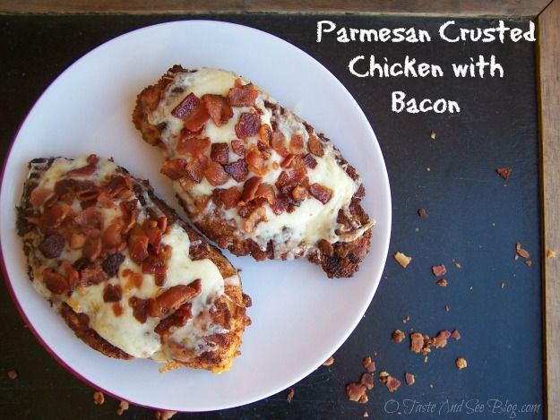 Parmesan Crusted Chicken with Bacon recipe pairs chicken with Parmesan cheese crust and tops with Asiago cheese and bacon.