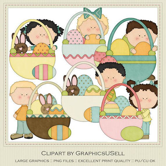 Easter Basket Kid's set 2 Clip Art Graphics by Alice Smith