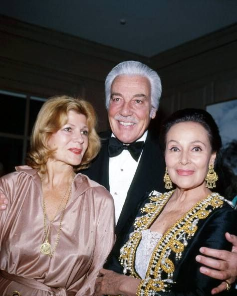 Beautiful trio Rita Hayworth, Cesar Romero and Dolores Del Rio in Beverly Hills, CA 1977