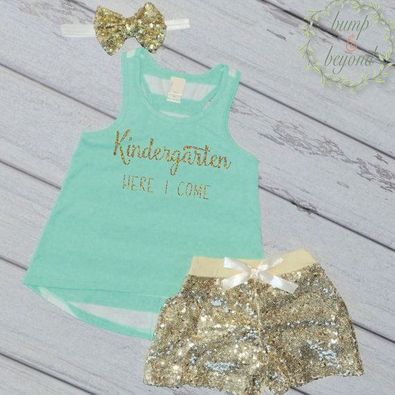 Look Out Kindergarten Here I Come, Kindergarten Shirt, First Day of School Photo Prop Last Day of Preschool Shirt Preschool Graduation Kindergarten Outfit for Girls by BumpAndBeyondDesigns
