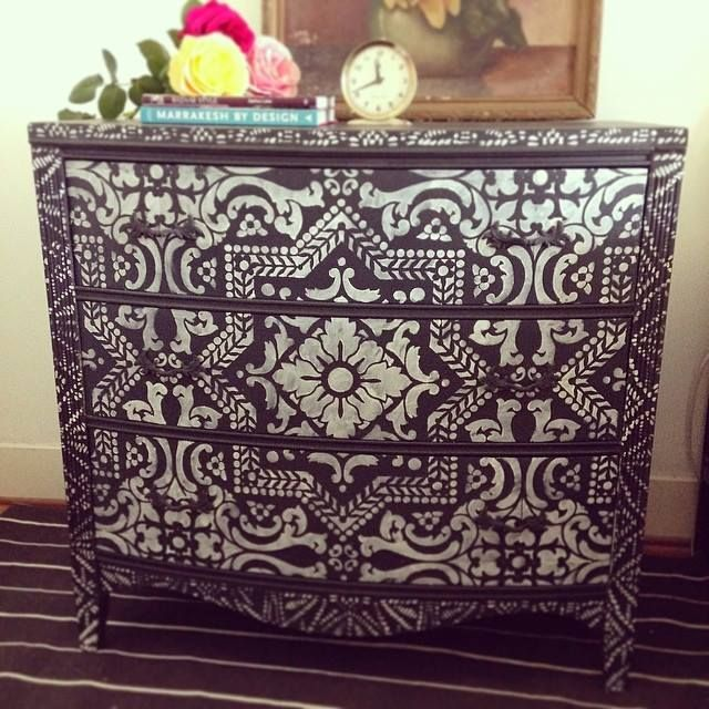 Dresser inspired by bone inlay design using Lisboa Tile and Tribal Batik stencils | Royal Design Studio