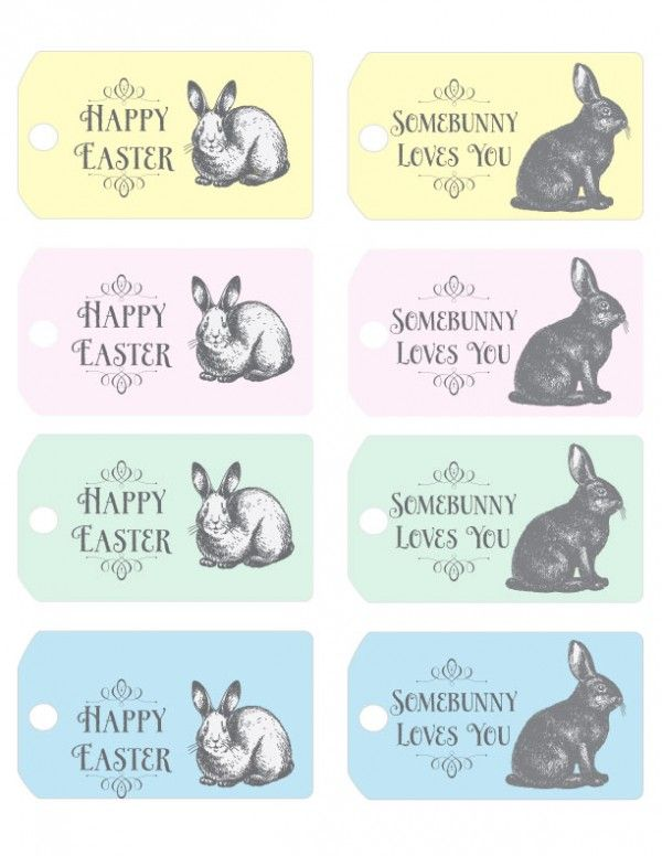Happy Easter tag & Somebunny Loves You tag - Free printables