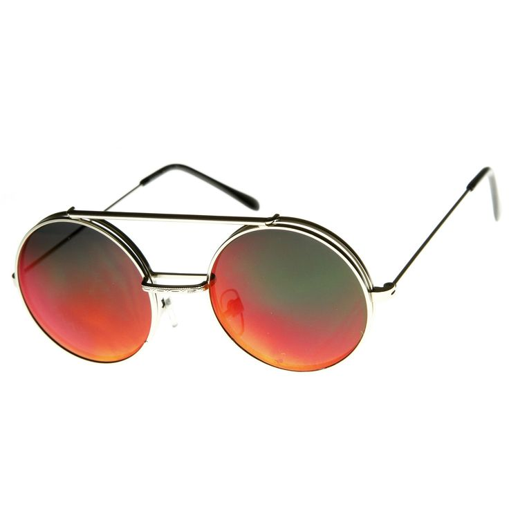 Limited Edition Retro Round Circle Steampunk Revo Lens Flip Up Sunglasses 8966
