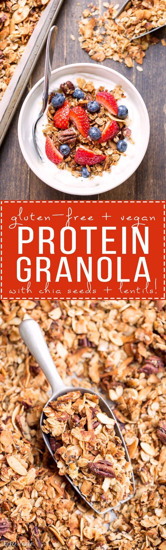 This crunchy Protein Granola gets a major dose of protein & fiber from a secret ingredient - lentils! This gluten-free & vegan granola is a delicious and filling breakfast or snack. #LetsLentil