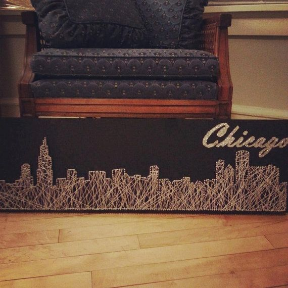 Chicago Skyline String Art: Use sanded and stained pallet as background.  Long Wall: Boston.  Short wall: multiple pieces, one from each home state.