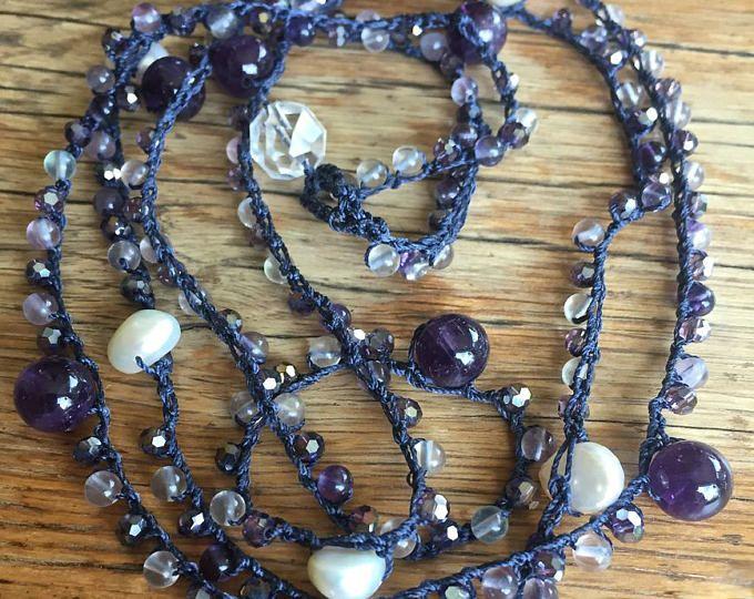 Amethyst & pearl crochet necklace-boho crochet necklace- gemstone amethyst and fluorite, layering crochet necklace, bohemian crochet jewelry