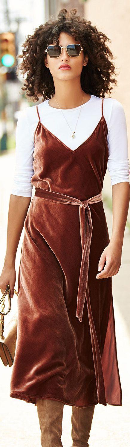 Office Fashion | Velvet Slip Dress