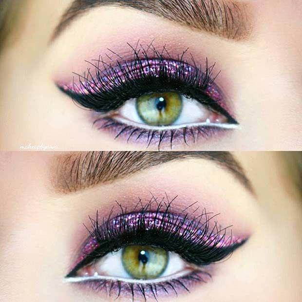 Purple Glitter Eye Makeup Look