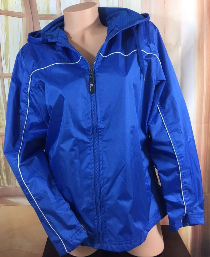 NWT $40 i5 Apparel Women Smart Jacket Windbreaker Hood Blue W/White Piping M  | eBay