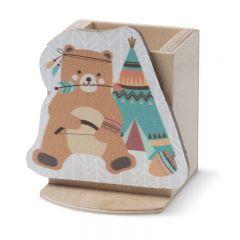 Μπομπονιέρα Βάπτισης ξύλινη μολυβοθήκη αρκουδάκι ethnic - Κωδ:MPO-ML850