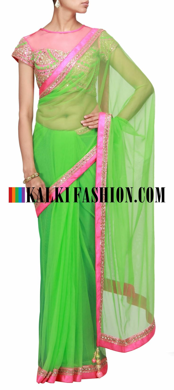Green saree with embroidered blouse