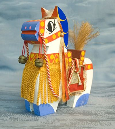 Hachiman Horse Figure Hand-Carved Japan Wooden Doll Japanese Tokaido Softypapa