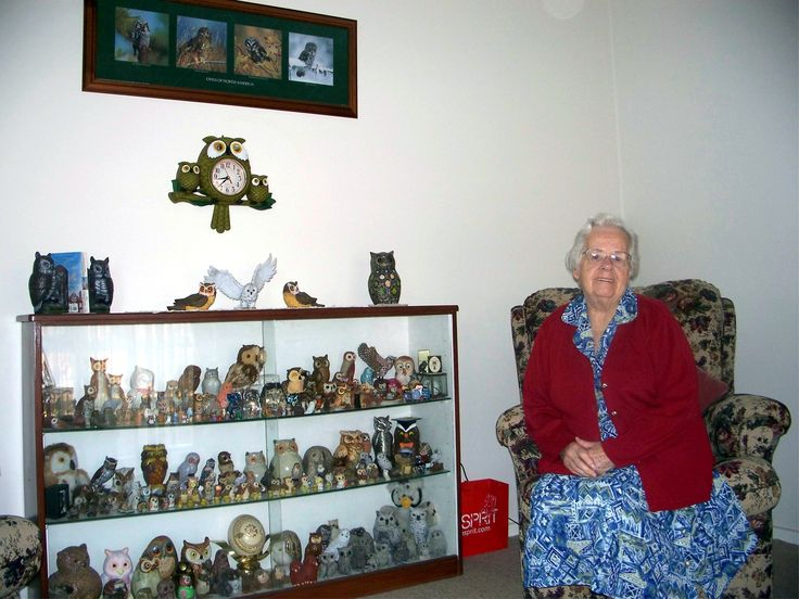 Nana and her owl collection