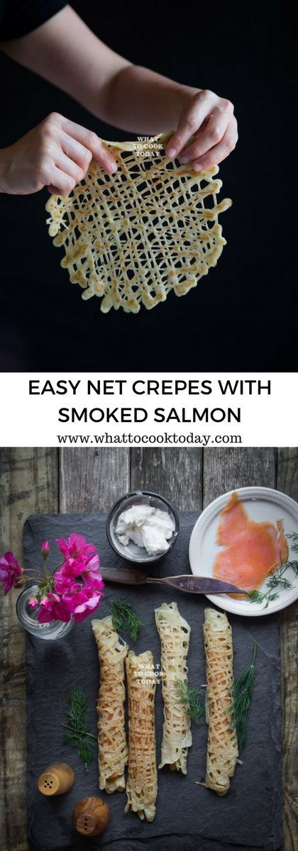 How to make Net Crepes with smoked salmon. Delicious easy net crepes with smoked salmon recipe that is perfect for breakfast or brunch. Click through for full recipe and step by step instructions #CreateWithOil #ad