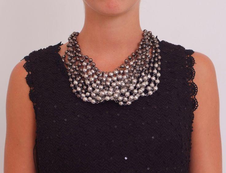 Collar bolitas plateado www.belleboheme.es