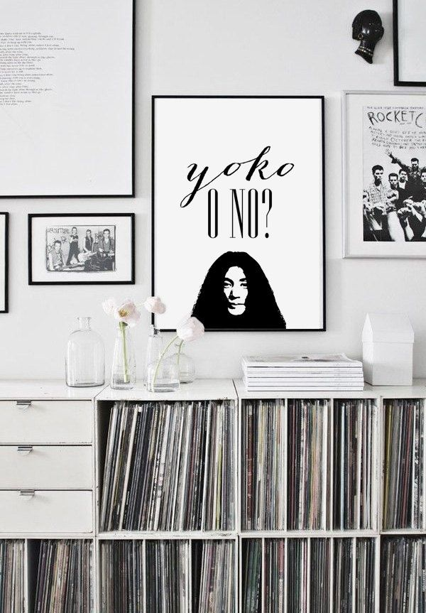 Funny quote print yoko or not black and white beatles poster 70x100 50x70 24x36 a4