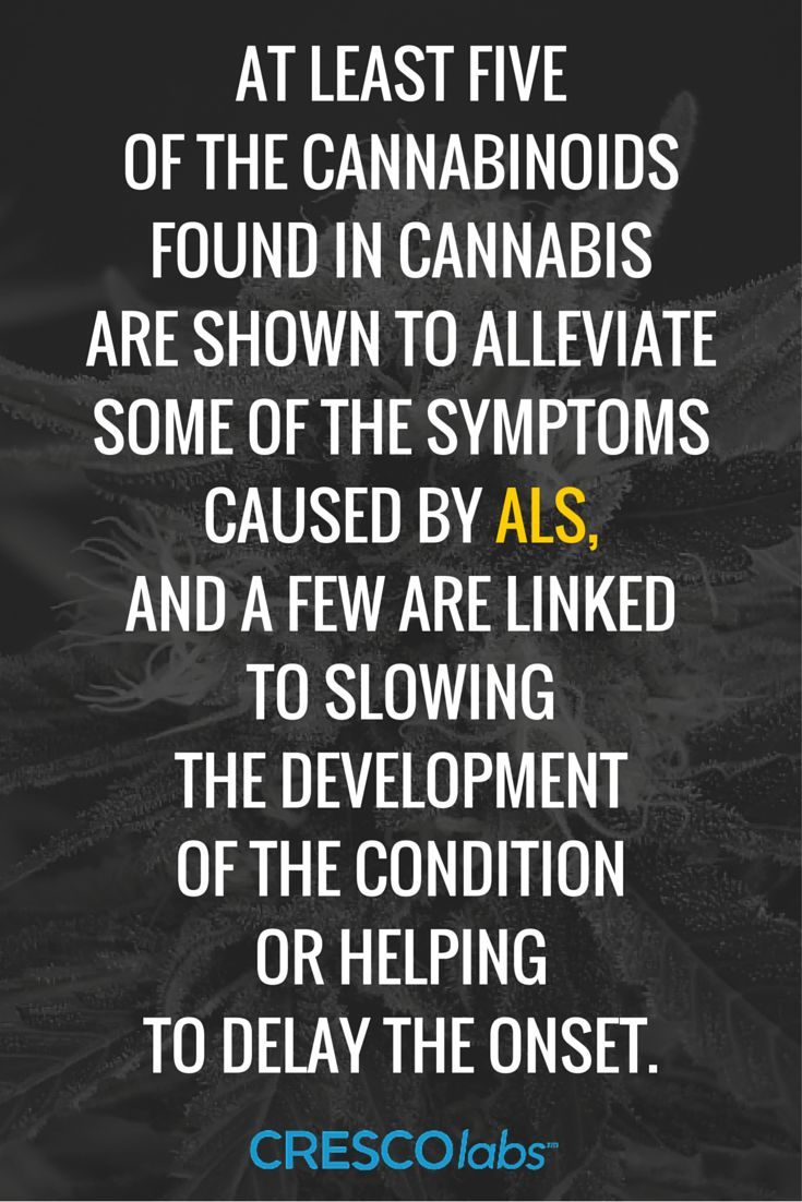 At least five of the cannabinoids found in cannabis are shown to alleviate some of the symptoms caused by ALS, and a few are linked to slowing the development of the condition or helping to delay the onset. (medical cannabis, marijuana) More info: http://www.crescolabs.com/conditions/amyotrophic-lateral-sclerosis/?utm_content=buffer956bc&utm_medium=social&utm_source=pinterest.com&utm_campaign=buffer