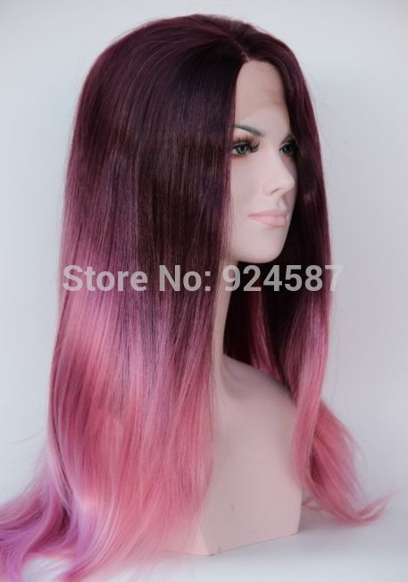 Ombre Purple To Light Pink Gradient Color Heat Resistant Kanekalon Hair Natural Long Straight Synthetic Lace Front Women Wigs-in Synthetic Wigs from Health & Beauty on Aliexpress.com | Alibaba Group