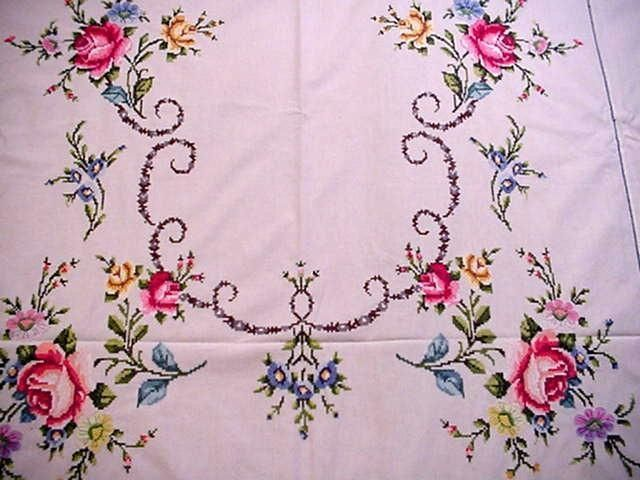 Vintage LG EMBROIDERED Floral Tablecloth AMAZING DETAIL!