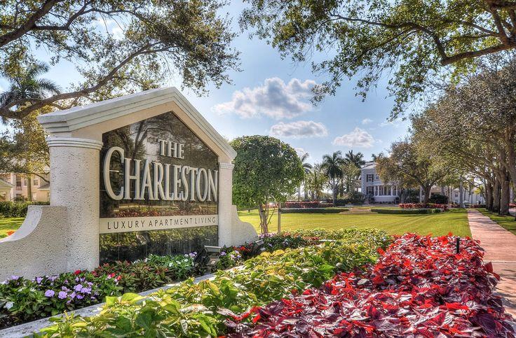 The Charleston Boca Raton Luxury Apartments welcome sign.