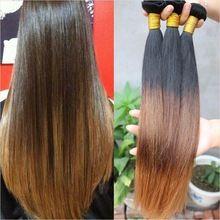 Brasiliani del virgin dei capelli weave 4 bundles ombre diritta brasiliana estensioni dei capelli umani economici tre toni diritto serico dei capelli AS302(China (Mainland))