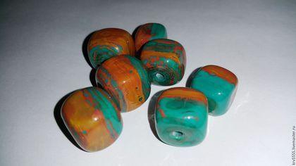 Для украшений ручной работы. Ярмарка Мастеров - ручная работа. Купить Лэмпворк кубики, набор, изумрудный с медью. Handmade. зеленый