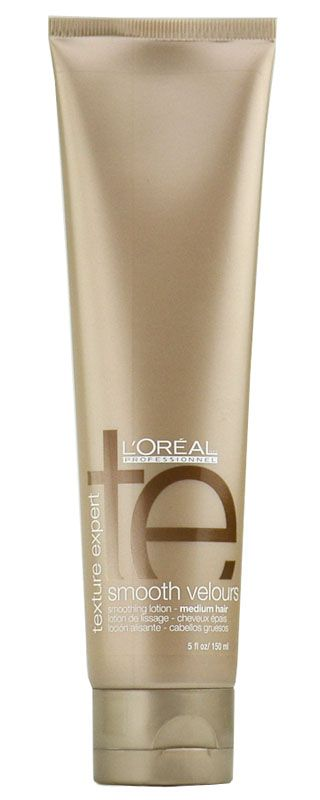 L'oreal Texture Expert Smooth Velours is a smoothing lotion for medium hair. Smooth Velours transforms medium to thick hair into silken, smooth styles with light control and shimmering radiance. Ideally formulated for heat styling and protection against mechanical and environmental factors.