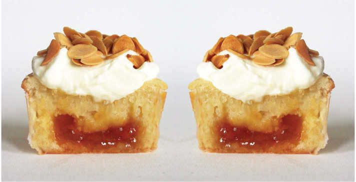 Sour Cream Apricot Cupcakes with Mascarpone Frosting and Toasted Almonds