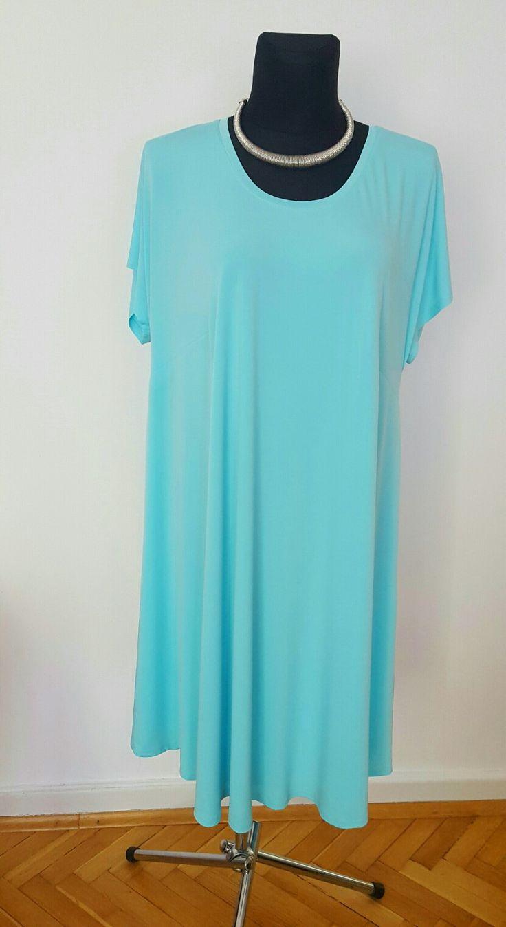 Letnia turkusowa sukienka plus size rozmiary 44-58