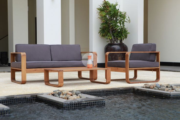 Euro Italia Delta Outdoor Lounge - 4 piece outdoor setting - solid acacia wood