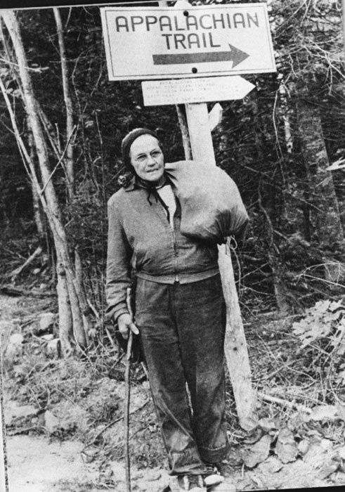 Emma Rowena Gatewood, better known as Grandma Gatewood, was the first woman to hike the Appalachian Trail. She did it in 1955 at the age of 67, wearing Keds sneakers and carrying an army blanket, a raincoat, and a plastic shower curtain which she carried in a homemade bag slung over one shoulder.