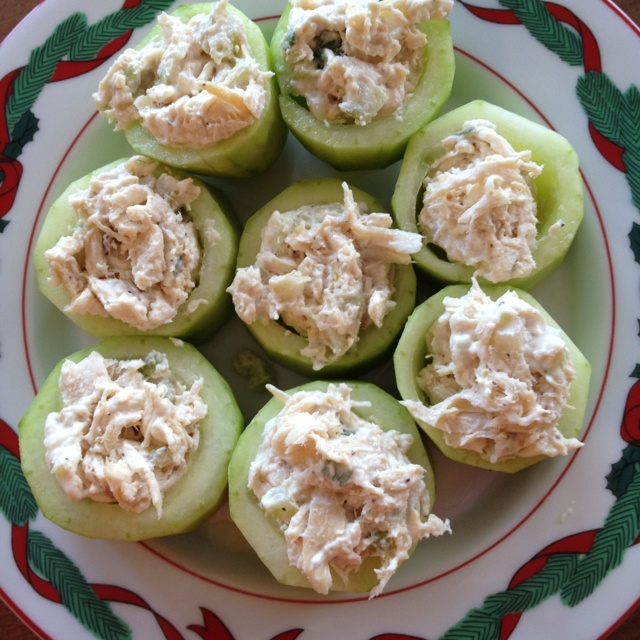 Cucumber bowls hold chicken salad. Great Christmas lunch hits d'oeuvre or easy for a party.