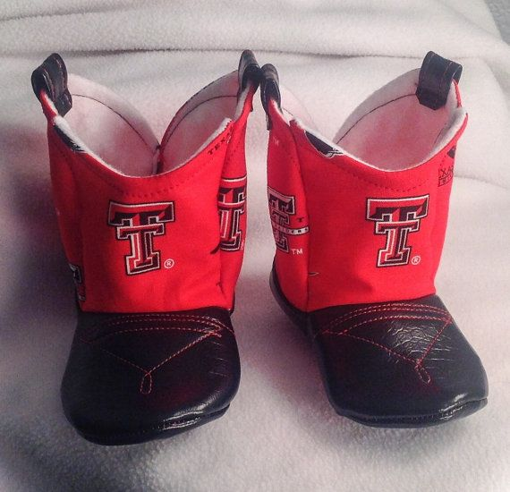 Baby Cowboy Boots Texas Tech CHOOSE your LEATHER color by 2Fab, $30.00.... OMG LUKE MUST HAVE!!!!!!!