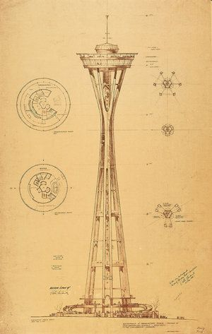 Preliminary design of the Seattle Space Needle by Victor Steinbrueck for the 1962 Seattle World's Fair Exhibition. Seattle Public Library.