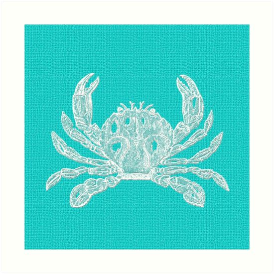 Aqua Blue with White Crab by Greenbaby