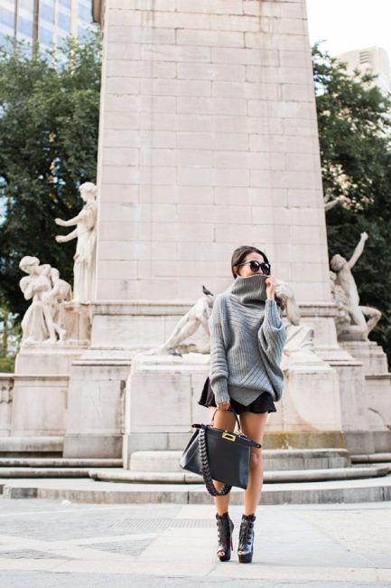 Sweater Weather :: Draped turtleneck & Autumn boots