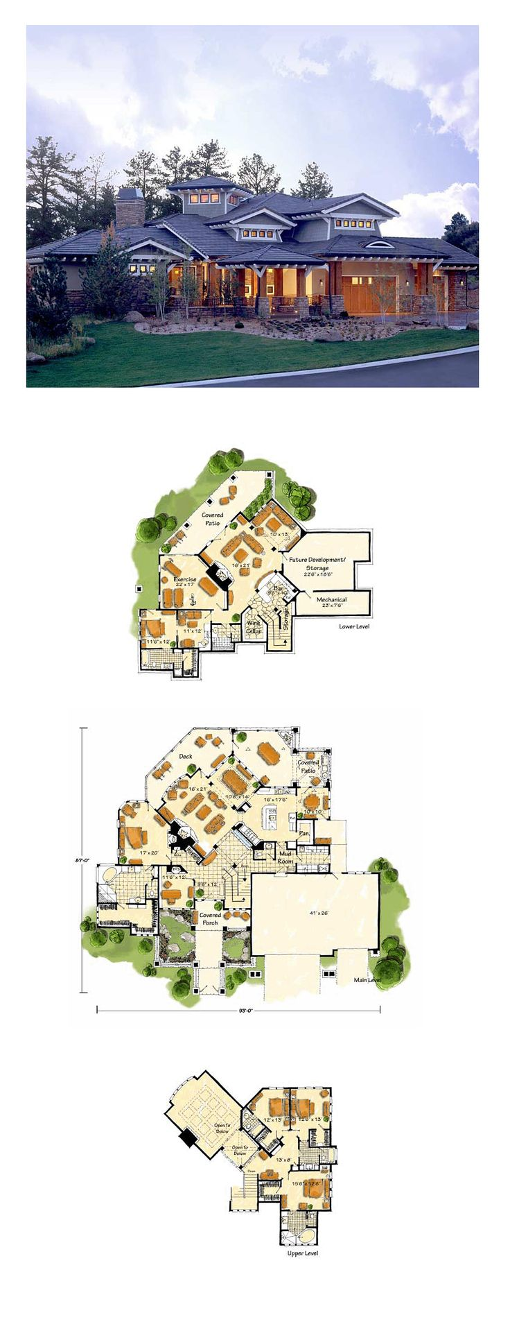 Hillside House Plan 43205 | Total Living Area: 5876 sq. ft., 5 bedrooms and 6.5 bathrooms. #hillsidehome