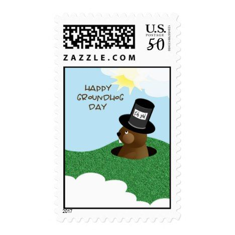 Happy Groundhog Day Cute Groundhog in Hat Postage #groundhogday