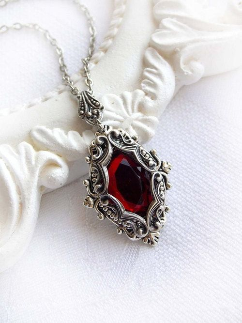 gothic jewelry, victorian necklace, and red crystal image