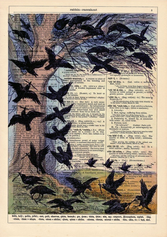 Vintage Childrens Story Book Illustration of Crows  on an Antique Dictionary Page - Vintage Recycled Book Page