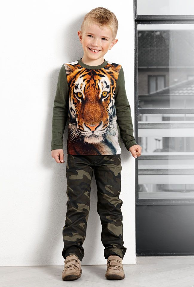 Twill army grøn m army print - Stof & Stil