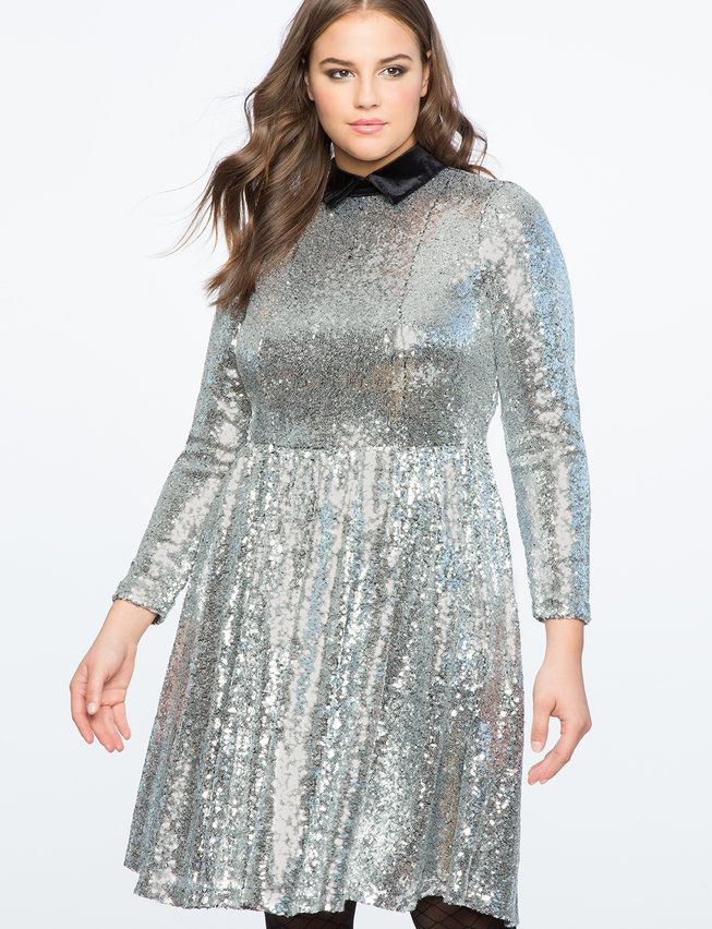 31f5dffdb1c Sequin Fit and Flare Dress with Velvet Collar from eloquii.com ...