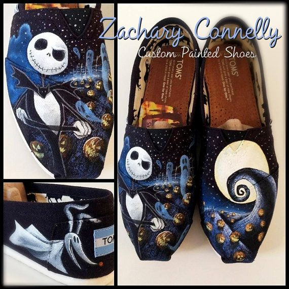 "The Nightmare Before Christmas Toms by ZacharyConnellyArt, $155.00  I ordered a pair of custom toms from Zachary for my wedding and he did a phenomenal job on them! I showed him The Little Mermaid ""kiss the girl"" scene I wanted, explained the details I envisioned, and he made it happen. He is truly talented and extremely professional. I enjoyed working with him and I would recommend him for any artwork projects. You can see his other work on his Facebook: www.facebook.com/ZacharyConnellyArt"