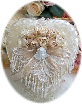 Look at the rosebuds! It can work!!!   Taupe Beaded Decorative Heart Trinket Keepsake Box