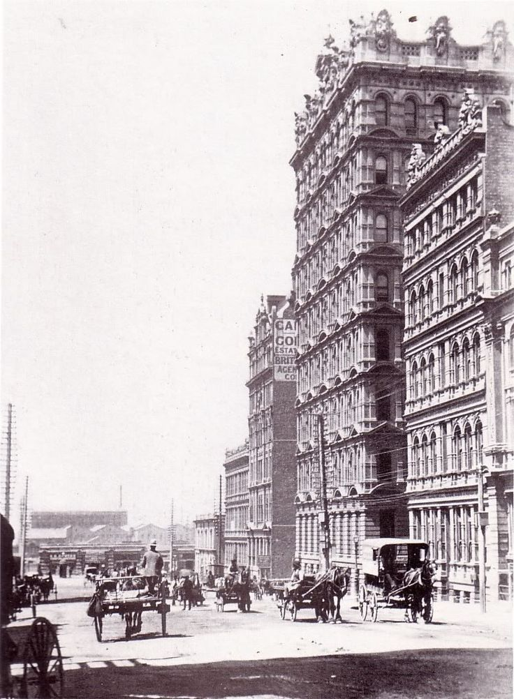 """Queen's Street, Late 1880s Caption says, """"Gothic magnificence is the Broken Hill Chambers.""""  Old Days All Cities Pt2: Melbourne - SkyscraperCity"""