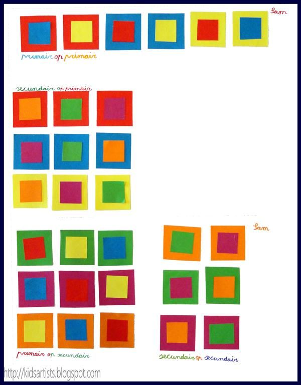 The aim of this lesson is that students discover the effect of primary and secondary colours on one another.