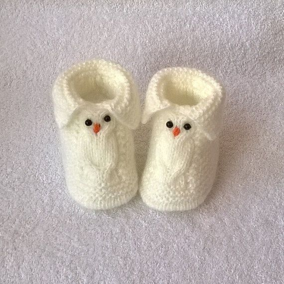 Owls Baby Booties made with much love Knitted от EcoCrochetArt
