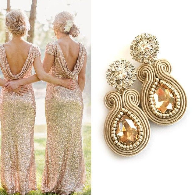 Love these champagne clip on earrings paired with sequin bridesmaid dresses. So classy Available in my shop ( link in bio ) ~~~~~~~~~~~~~~~~~~~~~~~~~ #jewelry #stylist #africanqueen #africangirl #musthave #handmade #etsy #fashion #etsyfinds #theverybestofetsy #bridesmaids #fashionista #wedding #etsyhunter #africanwax #beach #summer #ocean #sabodesign #cyprus #paphos #etsylove #abmlifeiscolorful #soutache #bride #bestofetsy #fashionlovers #bridesmaid #africanprint #africanfashion