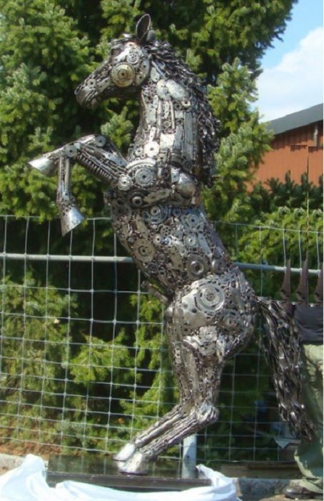 horse jumping statue life size scrap metal art for sale